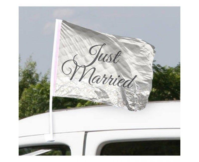 Autovlaggen Just Married, 2 stuks