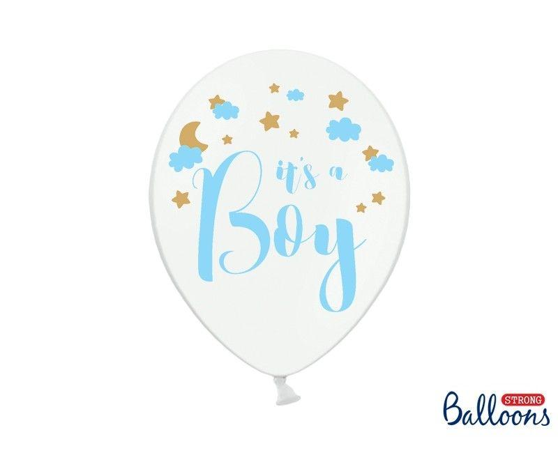 Ballon 30cm It's a Boy met gouden sterren, 6 stuks