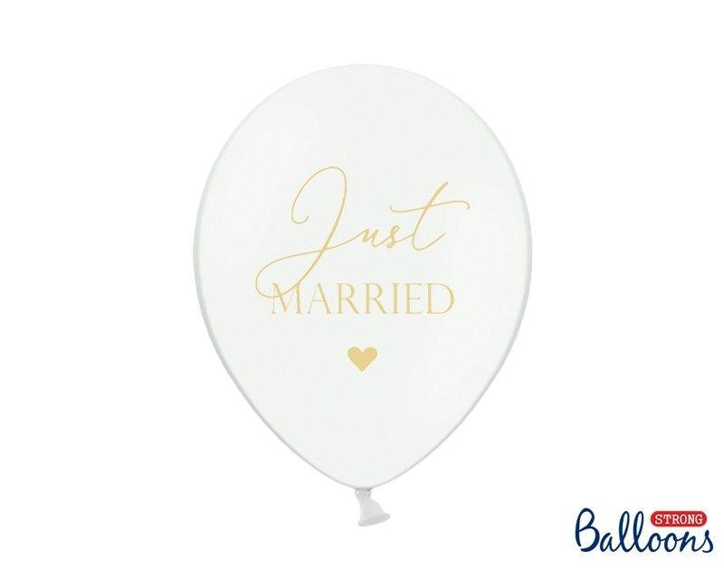 Ballon 30cm wit met gouden opdruk Just Married, 6 stuks