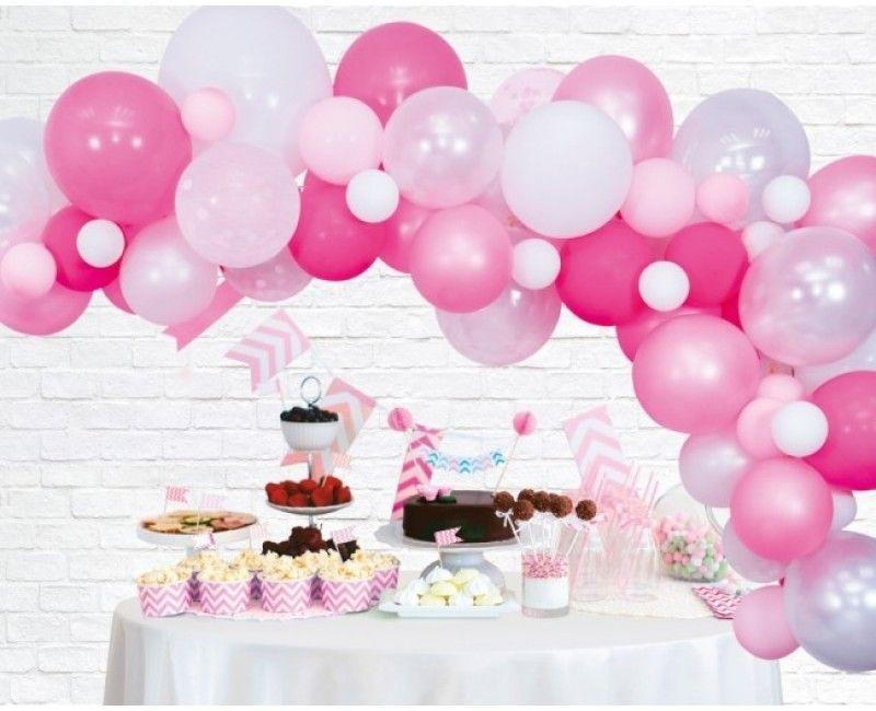 Ballon decoratie kit roze, 71-delig