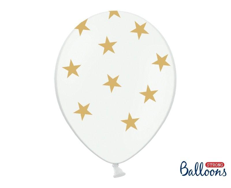 Witte ballonnen met gouden sterren 30cm, 6 stuks