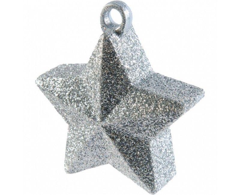 Ballongewicht ster zilver glitter, 160 gram