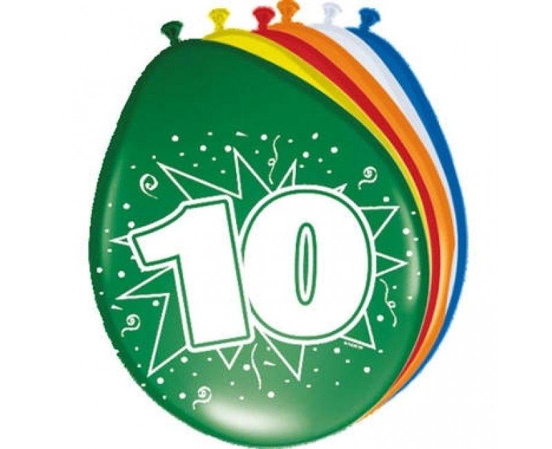 Ballon 30cm 10 jaar mix, 8 stuks