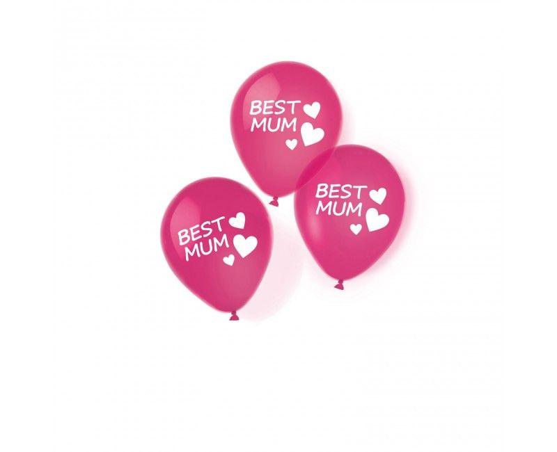 Ballonnen 28cm Best Mum met hartjes, 6 stuks