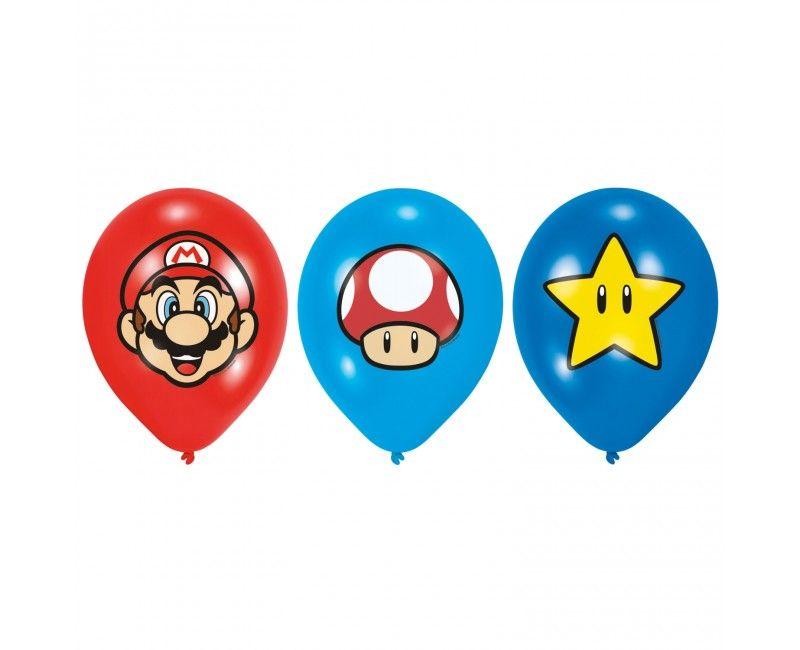 Ballonnen 28cm Super Mario, 6 stuks