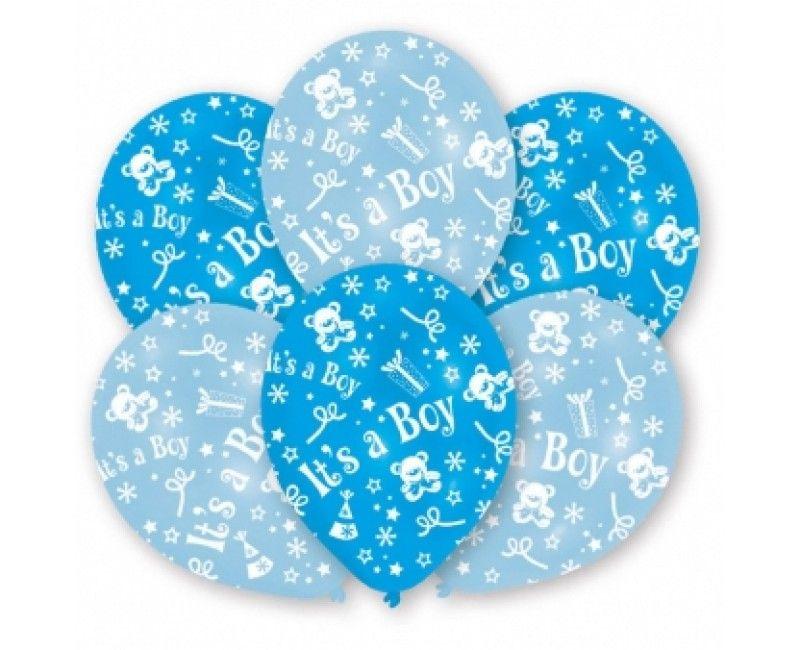 Ballonnen 28cm It's a boy metallic blauw - lichtblauw, 6 stuks