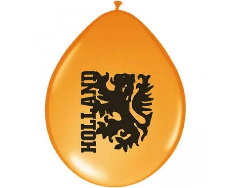 Ballonnen 23cm Holland oranje leeuw, 8 stuks