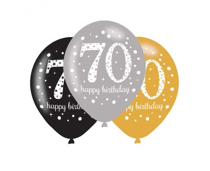 Ballonnen sparkling Happy Birthday goud 70 jaar, 6 stuks