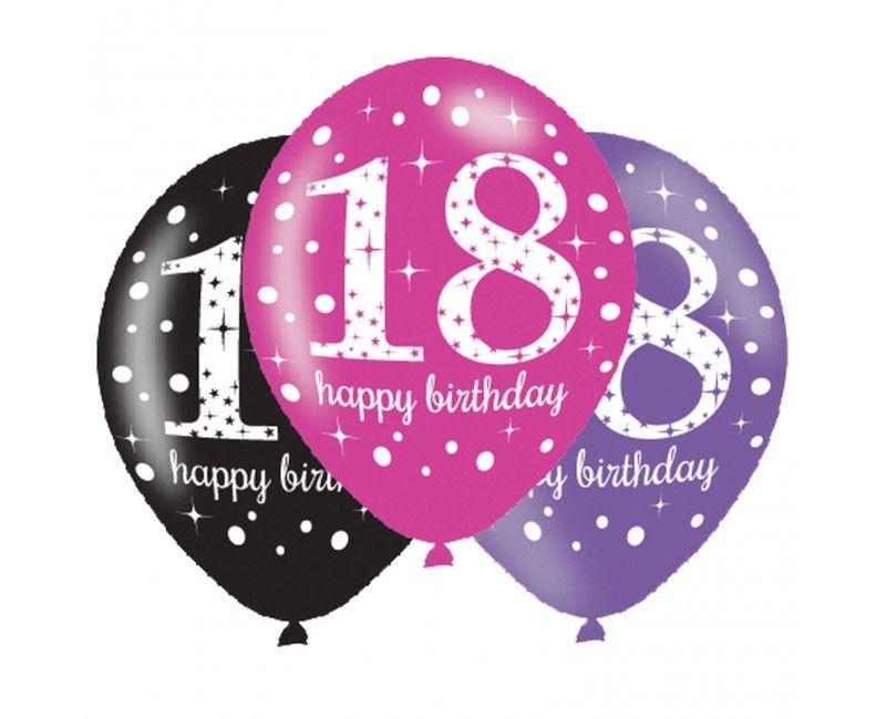 Ballonnen sparkling Happy Birthday pink 18 jaar, 6 stuks