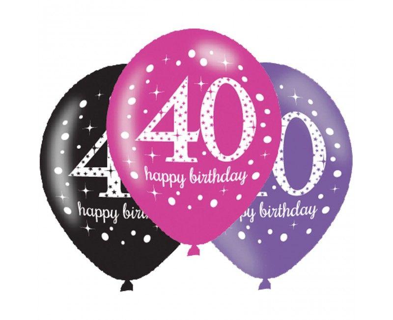 Ballonnen sparkling Happy Birthday pink 40 jaar, 6 stuks