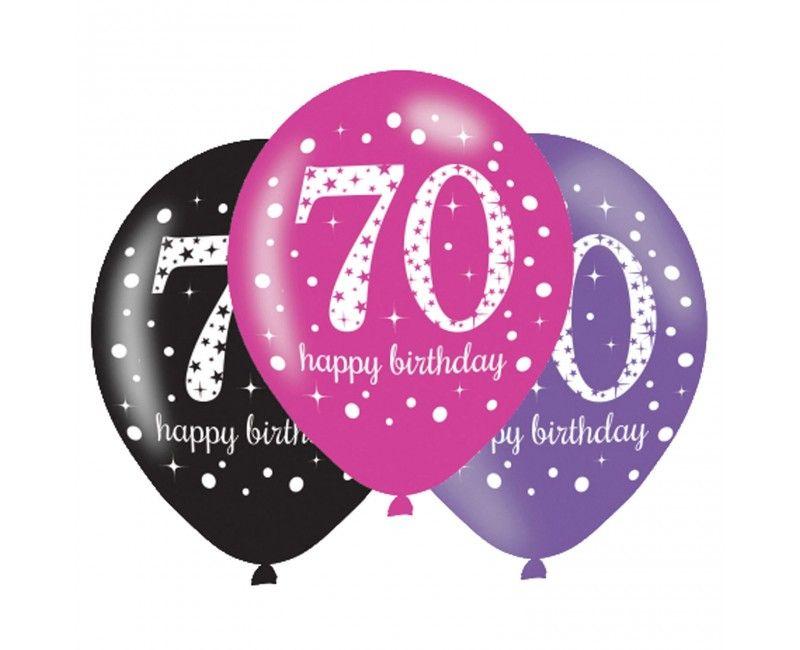 Ballonnen sparkling Happy Birthday pink 70 jaar, 6 stuks