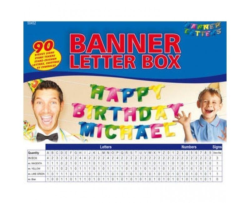 Banner letterset metallic multicolour 90-delig, hoogte 11cm