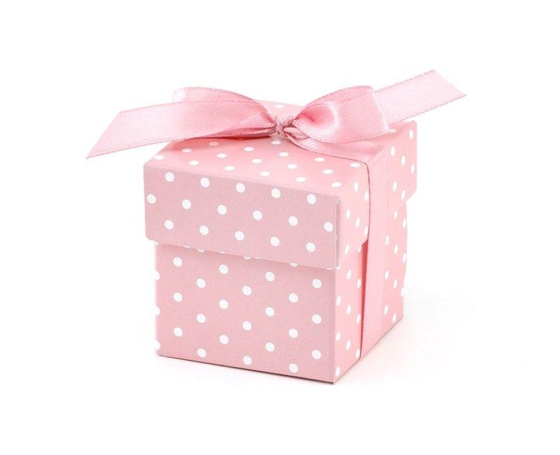 Bedankdoosje geboorte meisje lichtroze met witte stippen, 10 stuks