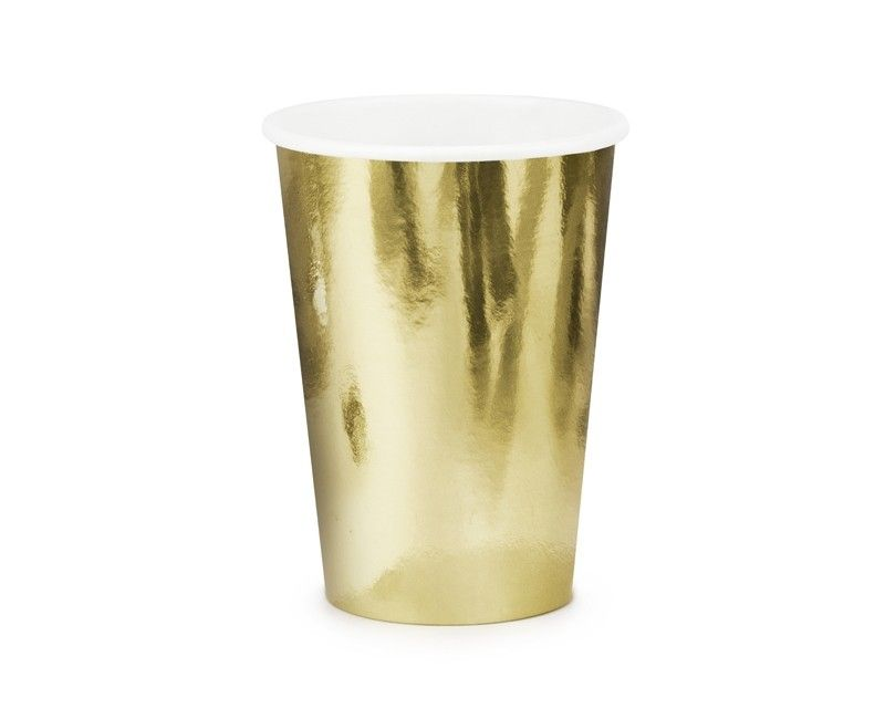 Beker metallic goud, 6 stuks