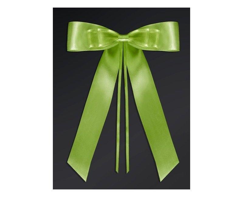 Strikken van satijn lint met knoop groen, 4 stuks