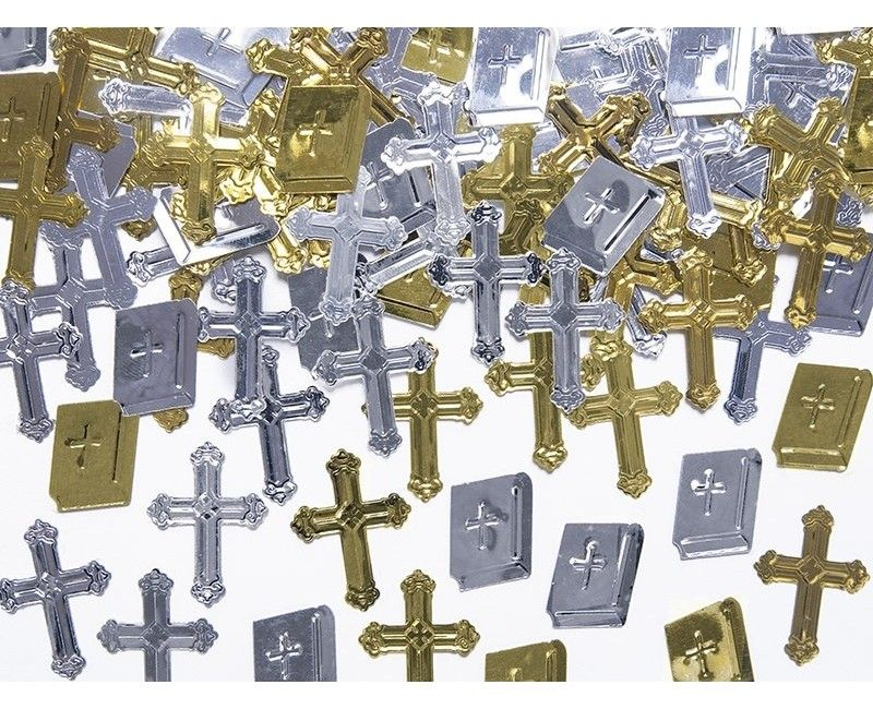 Metallic tafelconfetti kruizen en bijbels, 15 gram