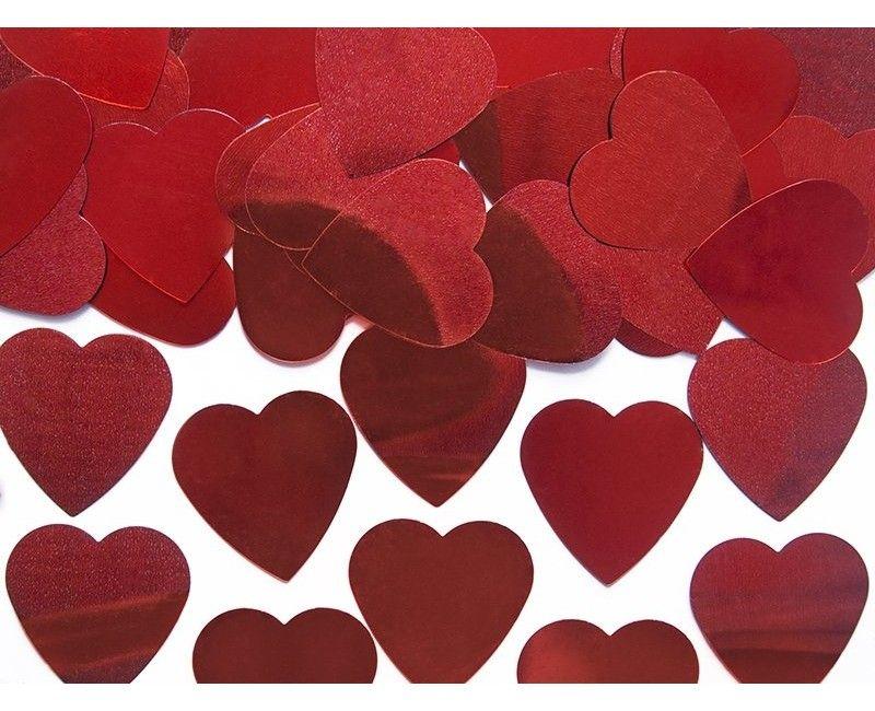 Tafelconfetti grote harten 25mm rood metallic, zakje 10 gram
