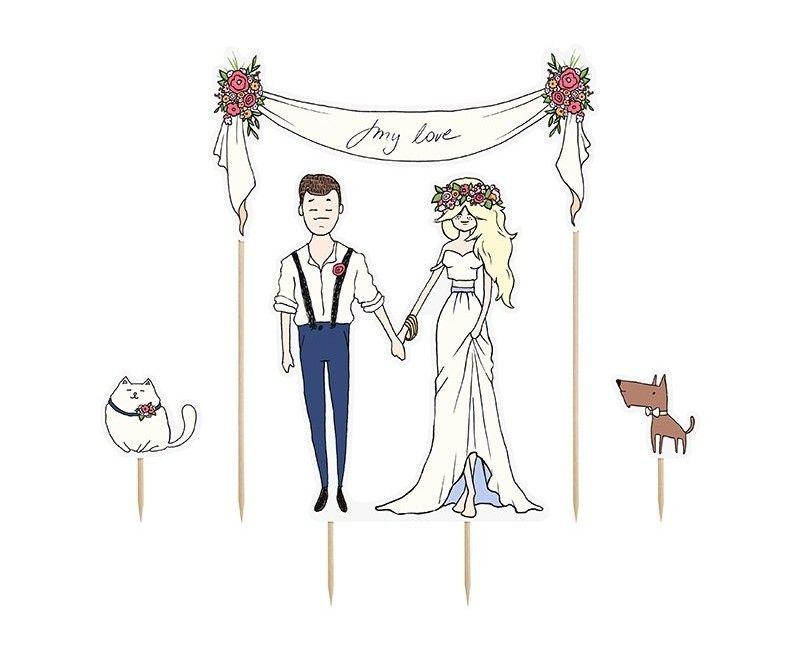 Bruidstaart toppers My Love, 4-delig
