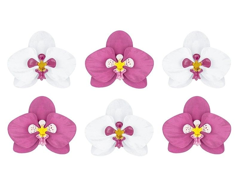 Decoratieve orchidee bladeren van papier, 6 stuks