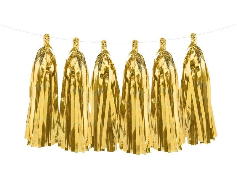 Luxe tassel slinger goud metallic, 2 meter
