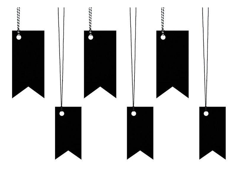 Decoratie labels zwart met touw, 6 stuks