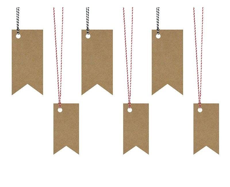 Decoratie labels kraft met touw