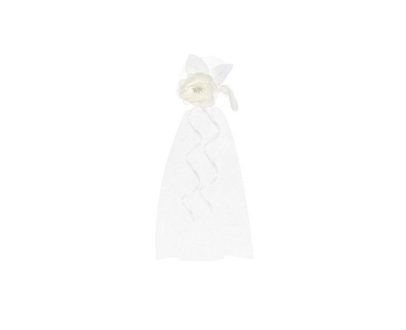 Bloemdecoratie met crème witte bloem, witte organza en wit satijn lint, 2 stuks