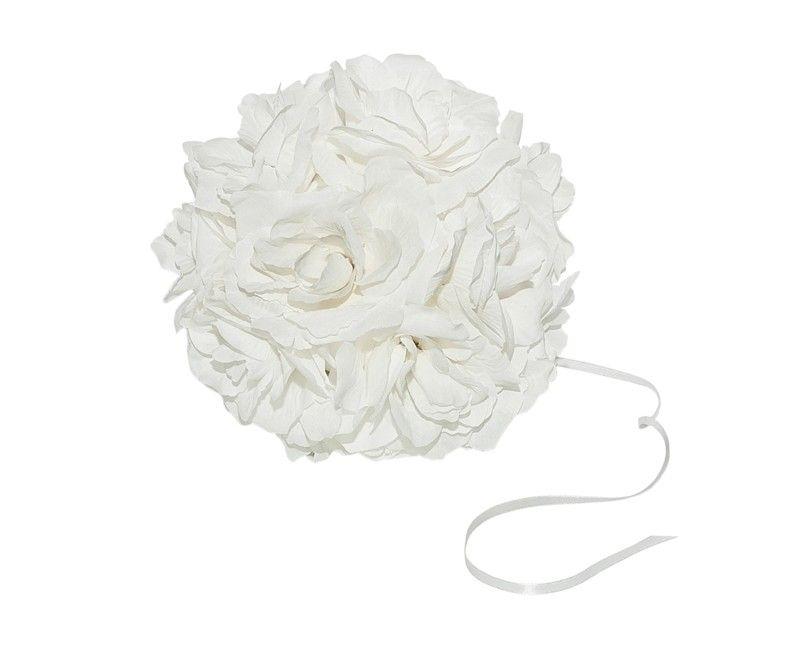 Bol van witte rozen met bevestigings lint, 21cm in diameter