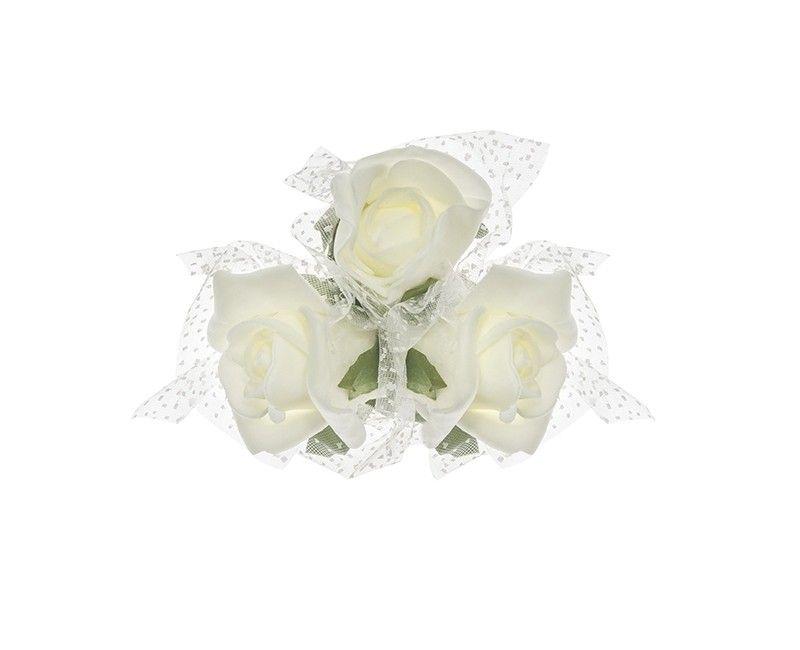 Boeketje van 3 crème witte rozen en tule met zuignap, 4 stuks