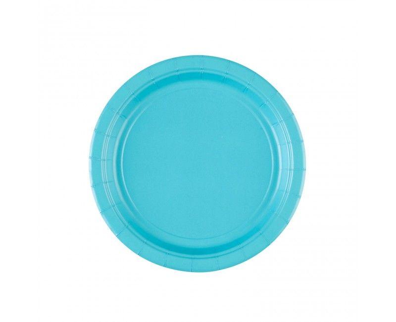 Bordje 18cm carribean blauw, 8 stuks