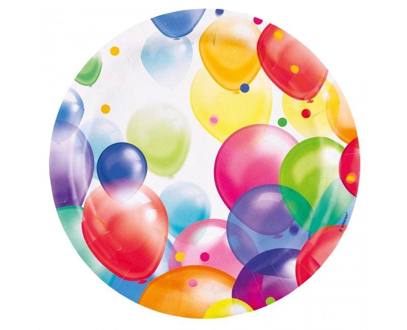 Papieren bord 23cm ballonnen, 8 stuks