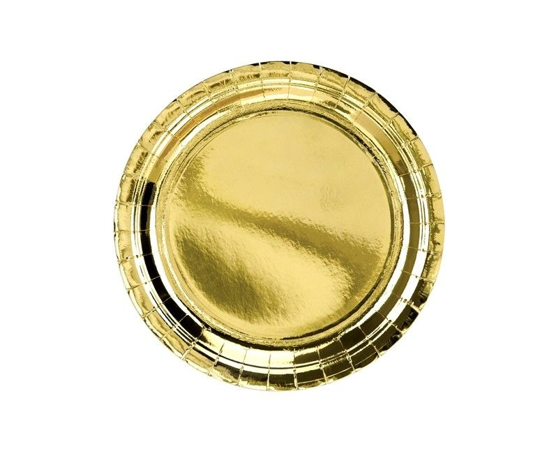 Bord 23cm goud metallic, 6 stuks