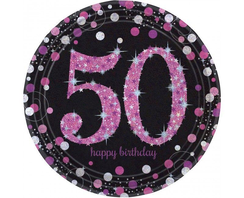 Borden sparkling Happy Birthday pink 50 jaar, 8 stuks