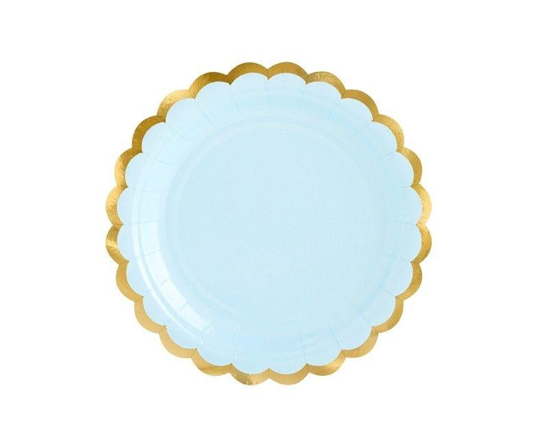 Bordje 18cm lichtblauw met goud metallic, 6 stuks