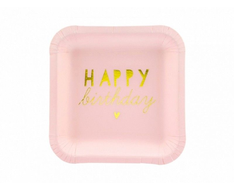 Bordje 14cm Happy Birthday lichtroze en goud, 6 stuks