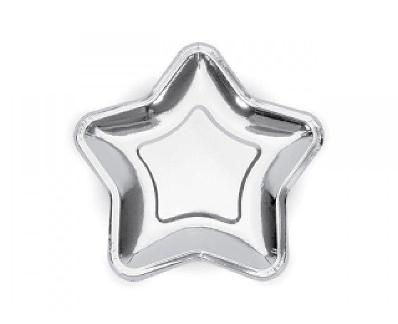 Bordje 18cm zilver ster, 6 stuks