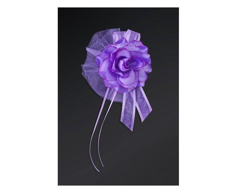 Bloemdecoratie lila roos met tule en lint, 4 stuks