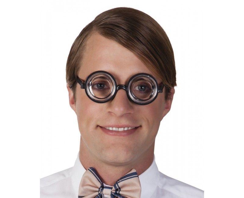 Partybril nerd zwart, per stuk