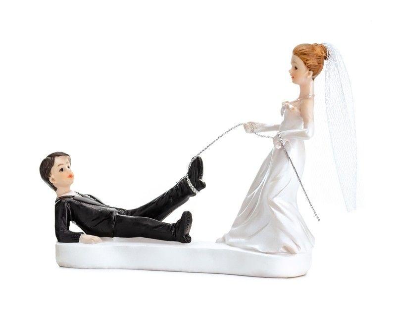 Bruidstaart topping bruidspaar aan een touwtje