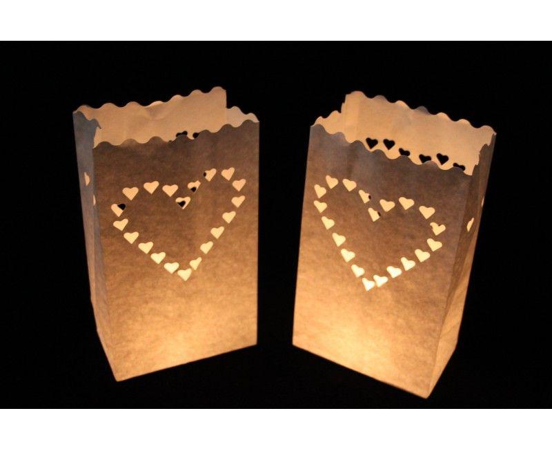 Candlebag groot hart, 10 stuks