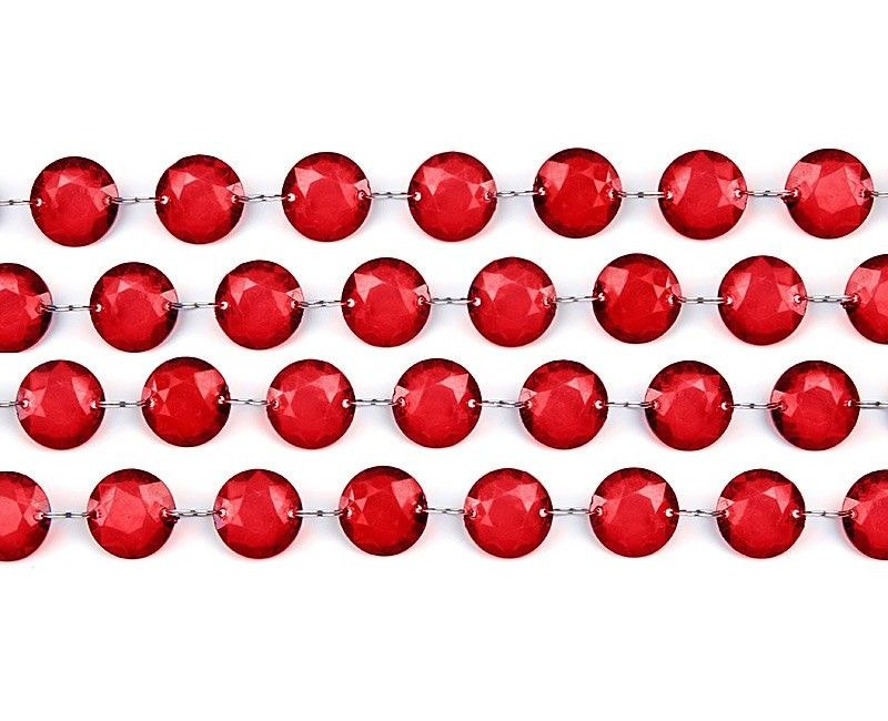 Crystal garland deep red