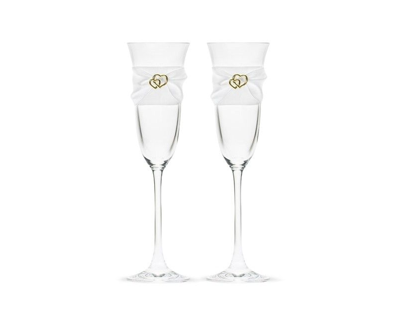 Champagneglazen met wit satijn lint en gouden hartjes