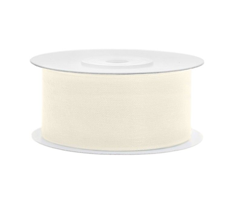 Chiffon lint 38mm crème wit, rol 25 meter