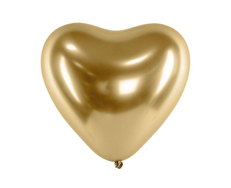 Chroom hartballon 30cm goud, 6 stuks