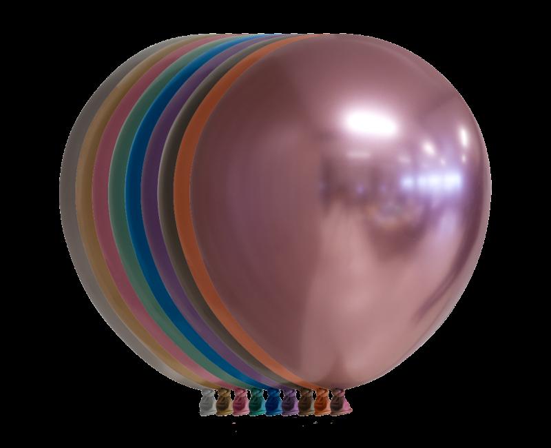 Chroom ballon 30cm mix kleuren, 10 stuks
