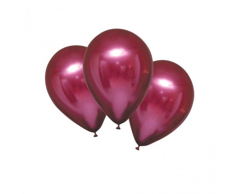 Chroom ballon 28cm grenadine rood, 6 stuks