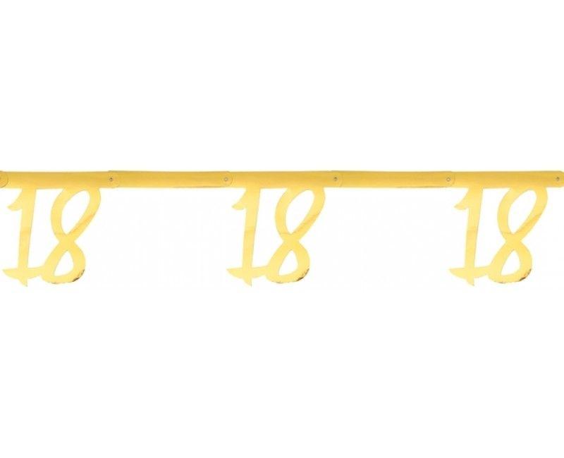 Leeftijdsslinger goud metallic 18 jaar, lengte 250cm