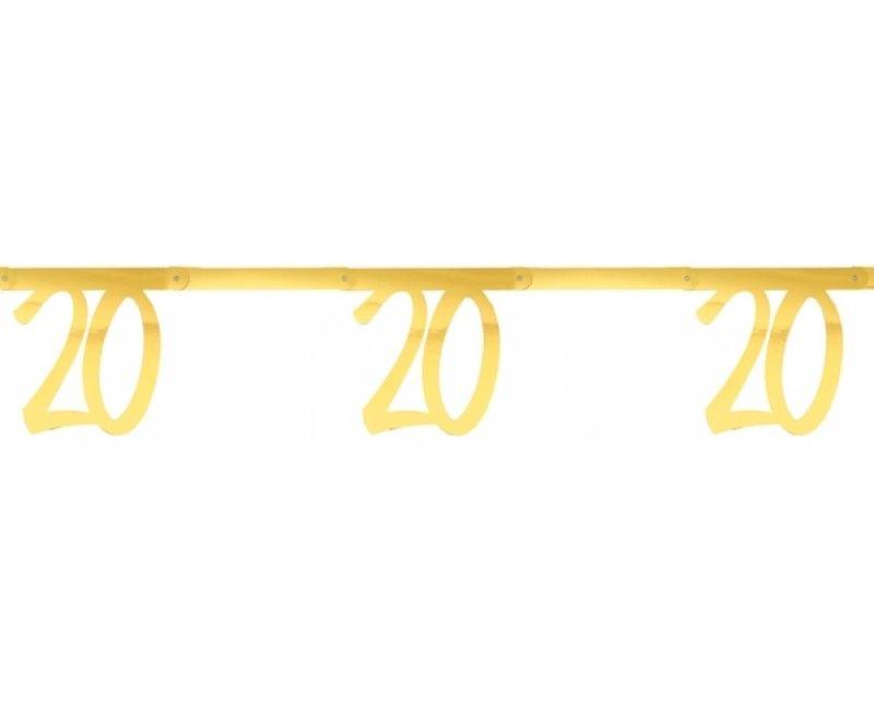 Leeftijdsslinger goud metallic 20 jaar, lengte 250cm