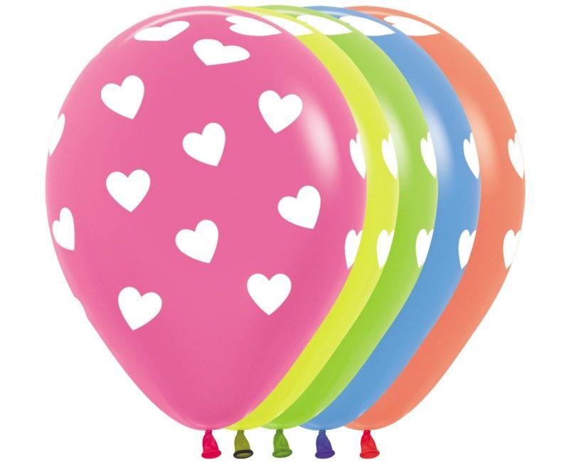 Sempertex ballonnen, classic hearts multicolour neon, 25 stuks