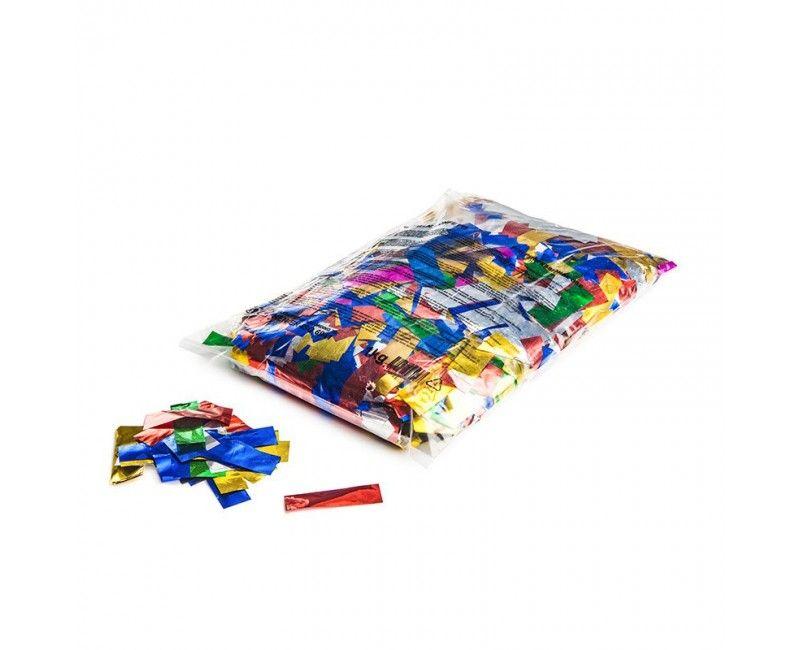 Slowfall confetti multicolour metallic rectangles 17 x 55mm, 1kg
